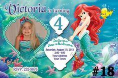 Princess Ariel Little Mermaid Photo Birthday Invitation You Print | TreasuredInvitations - Digital Art  on ArtFire