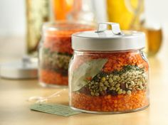 DIY - Layered Lentil Soup in a Jar - Here's a simple food gift idea that is sure to bring warmth to the recipient. You'll enjoy a bowlful on a cold day too! Make it your way with the quick and easy variation.