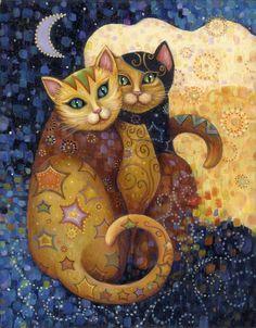 =^. ^= Cat Art =^. ^= ❤ ...Moonlighting...By Artist Marjorie Sarnat...