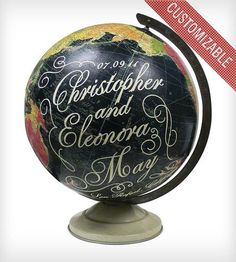 What better gift to give your favorite bride & groom than the world itself? Customized vintage globes by Imaginenations...