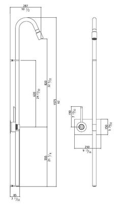 Wall-mounted thermostatic stainless steel shower panel CB401 | Shower panel - MGS