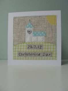 Handmade and Personalised Christening Card for a Boy. £6.95