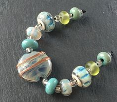 Oceans Morning - 11 Beads Pale Blue Aqua Ivory Green Turquoise Handmade Lampwork Beads by Karin Hruza SRA Ready To Ship! by Beadfairy on Etsy