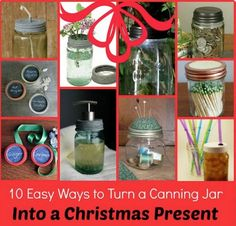 Mason Jar Gifts | 10 Easy Ways To Turn A Canning Jar Into A Present | Mason jar gifts are a great way to bring new life and purpose to a familiar object. | http://diygiftworld.com/mason-jar-gifts-10-easy-ways-turn-canning-jar-present/