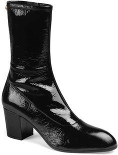 Gucci Printyl Patent Leather Zip Boot In 1000 Black Cuban Heel Boots, Black Heel Boots, Heeled Boots, Gucci Boots, Patent Leather Boots, Gucci Men, Toe Shape, Italian Fashion, Fashion Boots