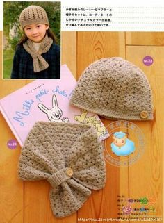 Crochet scarf and hat w/ diagram. Quick now someone teach me to crochet! Bonnet Crochet, Crochet Diy, Crochet Girls, Crochet Baby Hats, Crochet Beanie, Crochet Scarves, Crochet For Kids, Crochet Crafts, Crochet Clothes
