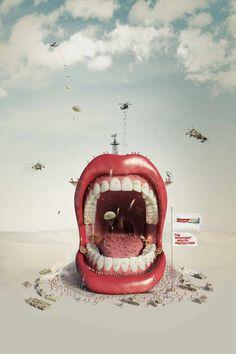 A brilliantly creative advert designed by illustrator Ricardo Salamanca for Colgate via Ads Of The World #Photo-manipulation #advertising #digital-art http://dizy.be/f77897