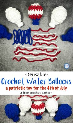Alright folks, you asked for it!  A smaller version of my free crochet pattern for the popular reusable Crochet Water Balloons.  Drop a hook size, take out some stitches and get even MORE out of a single skein of yarn!  Add some red, white and blue and you have a perfect DIY toy for the 4th of July :)