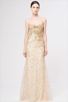 Gold Reem Acra Weddding Dress