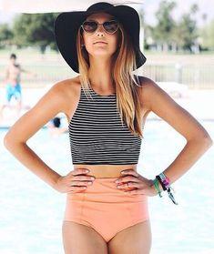 Striped Printed Top High Waisted Bikini More