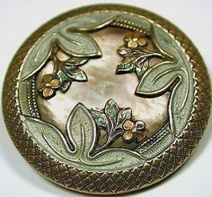 Antique Iridescent Shell Button Lg Sz. Triple Floral Overlaying Design.