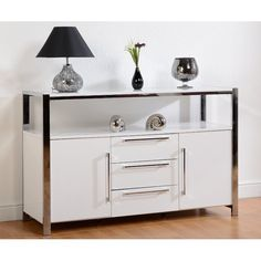 Glossy White Sideboard Storage Metal Chrome Frame Living Room Wooden Furniture for sale online Dining Room Console, Dining Room Storage, Console Storage, Storage Shelves, Shelf, White Sideboard, Formica Countertops, Cool House Designs, Interior