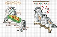 Cross-stitch Mini Christmas Stockings, part 2... no color chart, just use pattern chart colors as your guide.. or choose your own colors.... Kreuzstich