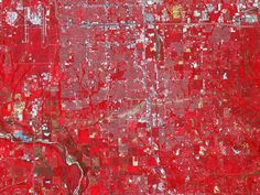 Nel's Note: This false-color infrared (usually called color IR or CIR) image reveals the path of the recent EF3 in Oklahoma City.  The beige streak indicates a surface devoid of vegetation - in this case, large amounts of inorganic debris strewn about by the tornado. For more basic info on understanding CIR images, please my comment below the NASA image of a hurricane on Saturn (image credit NASA).