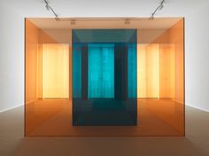 """ruiard: """"Larry Bell - Made for Arolsen (Pink/Blue), Pink and blue laminated glass, × × cm, 1992 """" Bell Art, No Rain, Light And Space, Space Gallery, Light Art, Glass Design, Museum, Installation Art, Unique Art"""