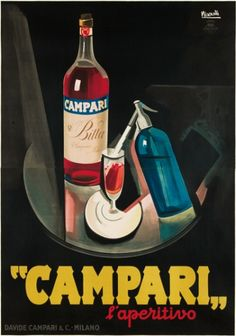 "By Marcello Nizzoli, 1 9 2 6,   ""Campari"": L'aperitivo. (Art Deco,I)"