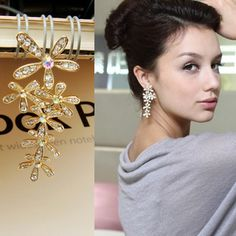 Tassel exaggerated retro flash diamond crystal earrings, shop at Costwe.com