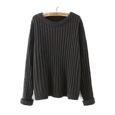 Grey Round Neck Vertical Stripe Loose Sweater ($23) ❤ liked on Polyvore featuring tops, sweaters, loose fitting sweaters, gray top, grey sweater, loose sweater and gray sweater