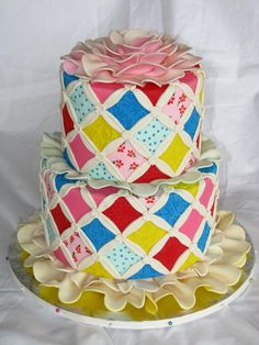 Pippi Longstocking blanket cake bed cake. Only need a pippi cake topper. cathedral quilt cake | this looks just like the quilt on my bed!