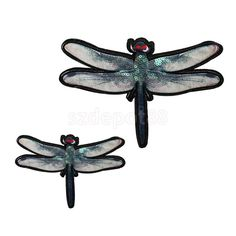 Material: Sequin Fabric. This is easy to place on a garment, tote bag, place mats, sheets, etc. Embroidery Applique Iron On Sew Badg. Black Oval Suede Fabric Sew on Elbow. Fashion paillette dragonfly design, you can DIY it as you like.   eBay!