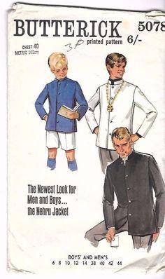 "Vintage 1960's Sewing Pattern Men's Nehru Jacket The Beatles C 40"" Ultra Rare #Butterick"