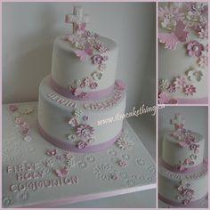 Flower themed Communion Cake - by itsacakething @ CakesDecor.com - cake decorating website