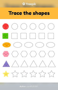 Tracing Worksheets, Worksheets For Kids, Kid Activities, Geometric Shapes, Kindergarten, Preschool, Education, Illustration, Dimensional Shapes