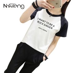 >> Click to Buy << Loose Mujer Female Short raglan Sleeve Cool Women Blouse Printed Letter Rock Singer Shirts Unique Korean loose Basic Tops Shirt #Affiliate