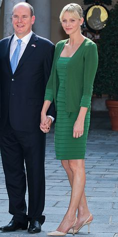 October 4, 2011 Charlene Wittstock greeted the president of Croatia Ivo Josipovic in a tiered kelly green dress and a marching cardigan.
