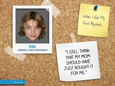 "We found Ryan, a #little #boy who had a #lemonade #stand, and he had a #cute ""When I Got My First #Paycheck..."" moment to share with us. You can read his full #moment here: http://6israndom.com/featured/story/4ff33f7b36373c2b8a00000f"