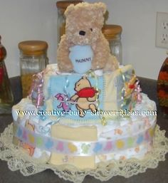 cuddly bear and blankets winnie the pooh diaper cake