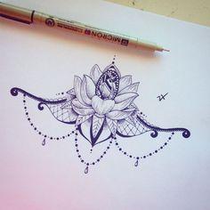lotus mandala underboob tattoo