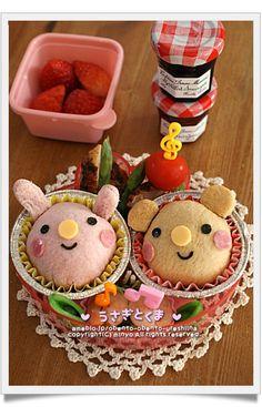 Rabbit and Bear sandwich bento