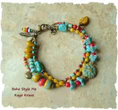 Sundance Style Turquoise and Red Coral Bangle Bracelet, Boho Southwest, Colorful Desert Flowers, BohoStyleMe, Kaye Kraus by BohoStyleMe on Etsy