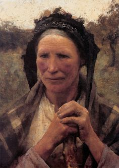 Sir George Clausen (1852-1944) Head of a Peasant Woman Oil on canvas 1882