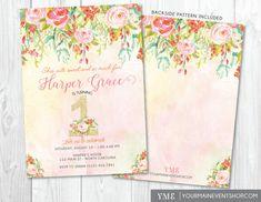 Watercolor Flower 1st Birthday Invitation • Whimsical Floral First Birthday Invite • Glitter Girl Invitation Printable • Spring Summer