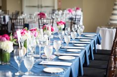 Navy and Fuschia Head Table Nautical Wedding, Plymouth, Table Settings, Club, Weddings, Table Decorations, Navy, Country, Home Decor