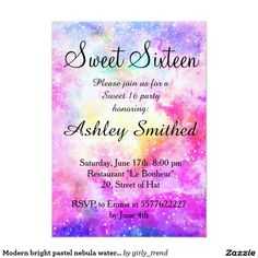 Modern bright pastel nebula watercolor Sweet 16 5x7 Paper Invitation Card by Girly Trend