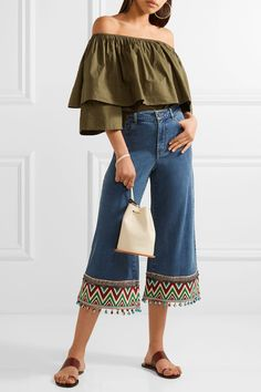 Alice Olivia - Beta Cropped Embroidered High-rise Wide-leg Jeans - Blue -