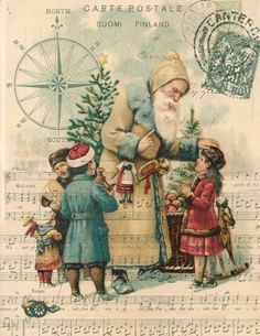 Merry Christmas Wishes : Illustration Description Paper Christmas Santa with Children Print Merry Christmas Wishes, Old Christmas, Old Fashioned Christmas, Christmas Scenes, Victorian Christmas, Father Christmas, Xmas, Vintage Christmas Images, Vintage Holiday