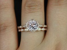 Katya Medio Size 14kt Rose Gold Morganite and Diamonds Kite Cushion Halo NO Milgrain Wedding Set(Other metals and stone options available) on Etsy, $1,345.00❤ so unique!!: