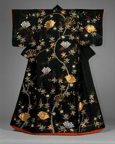 Geisha Kimono with Design of Mandarin Oranges and Folded Paper Ornaments. Medium: Tie-dyed satin damask with silk embroidery and gold couching. Japanese Outfits, Japanese Fashion, Asian Fashion, Japanese Clothing, Hanfu, Kimono Design, Japanese Costume, Wedding Kimono, Japanese Textiles