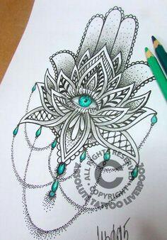 Tatuaje flor de Loto y mano de fatima