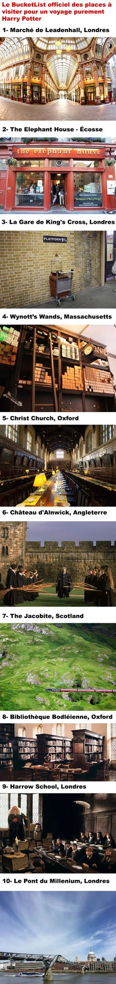 Le BucketList officiel des places à visiter pour un voyage purement Harry Potter