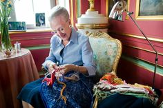 Queen Margrethe photographed at Fredensborg Palace. She works among others with embroidery in connection with . Adele, Queen Margrethe Ii, Danish Royalty, Danish Royal Family, Swedish Royals, Princesa Diana, Crown Princess Mary, Prince Philip, Royal House