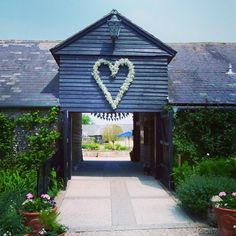 Fabulous heart made of Gypsophila at the entrance to Upwaltham Barns