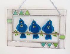 StaiNeD GlAsS PaNeL FeATuRiNg  BluE BiRdS of by LanieMarieDesigns
