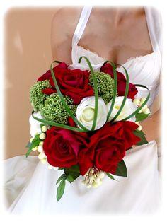 Bouquet de mariée rouge et blanc - Bouquet de mariée - douce-fantaisie