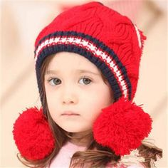 New Baby Boy Girl Winter Fur Ball Bonnet Infant Ear Protector Cute Hat Cap Knitting Wool, Baby Knitting, Knitted Hats, Crochet Hats, New Baby Boys, Cute Hats, Cool Things To Buy, Stuff To Buy, Baby Hats