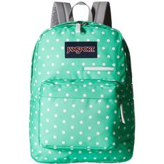 JanSport Digibreak (Seafoam Green/White Dots) Backpack Bags (130 BRL) ❤ liked on Polyvore featuring bags, backpacks, padded backpack, zip bag, strap backpack, white backpack and jansport daypack